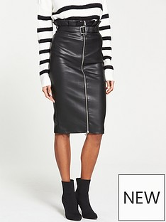 v-by-very-paperbag-waist-pu-skirt-black