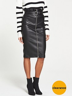 v-by-very-paperbag-waist-pu-skirt-black
