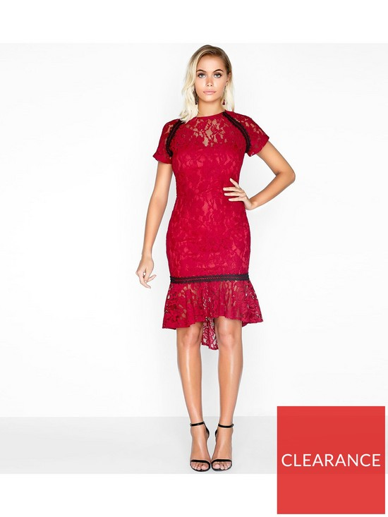 191b6a798720 Paper Dolls Paper Dolls Soft Lace Peplum Hem Contrast Trim Dress ...