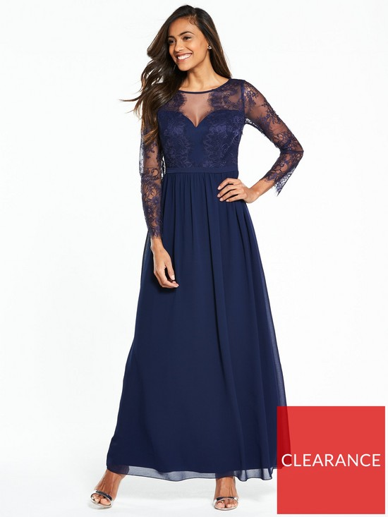 c34804bb11da Little Mistress Long Sleeve Lace Maxi Dress - Navy