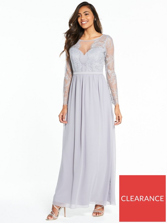 e82cd02c4f0f Little Mistress Long Sleeve Lace Maxi Dress - Grey