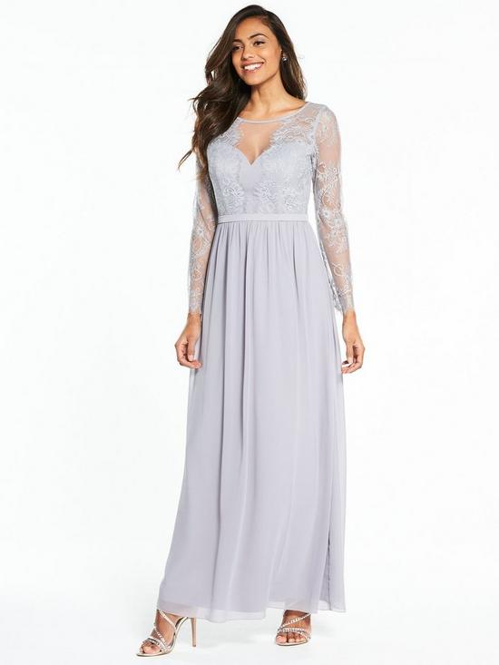 Little Mistress Long Sleeve Lace Maxi Dress Grey Verycouk