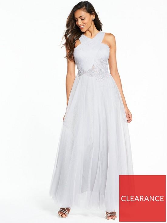 bbafa13209f Little Mistress Cross Front Maxi Dress - Grey
