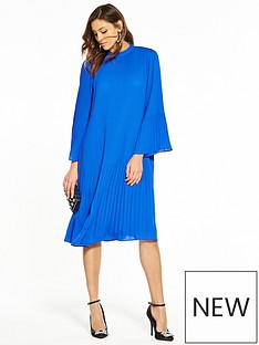 v-by-very-pleat-midi-dress-cobalt-blue