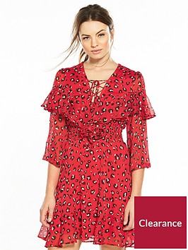 v-by-very-animal-lace-up-sheered-printed-dress-red