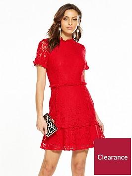 v-by-very-lace-frill-hem-dress-red