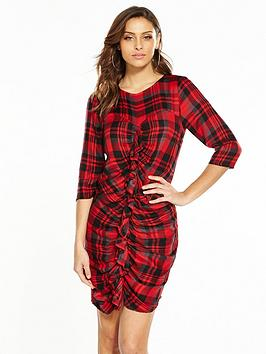 v-by-very-frill-front-check-dress-red-check