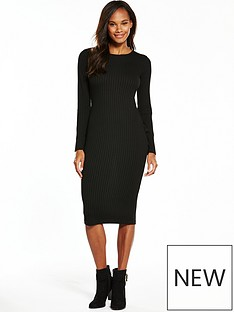 v-by-very-jersey-rib-sleeve-midi-dress-black