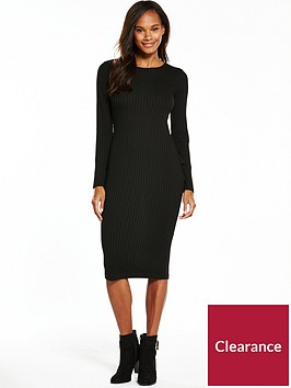 v-by-very-jersey-rib-sleeve-midi-dress-black