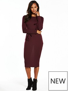 v-by-very-jersey-rib-tie-sleeve-midi-dress