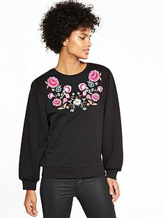 v-by-very-embroidered-sweat-top-black