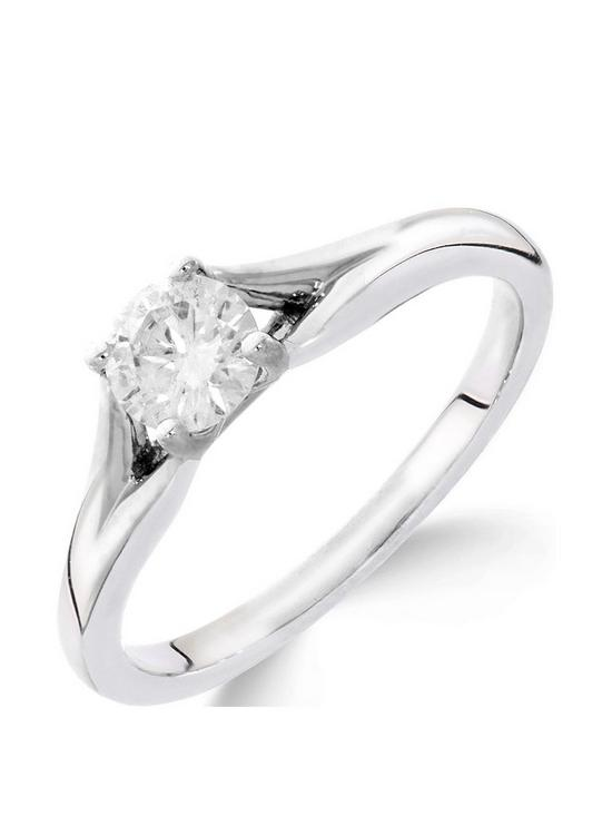Love GOLD 9ct white gold 1 2 carat diamond solitaire with tapered shoulders  ring d78634e98
