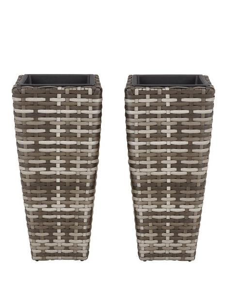 set-of-2-tall-rattan-effect-planters-grey