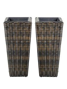 set-of-2-tall-rattan-effect-planters-brown