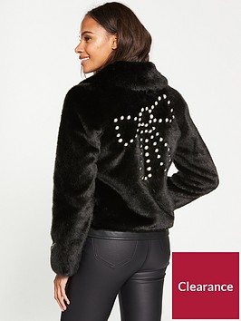 v-by-very-short-faux-fur-jacket-with-pearl-trim-black