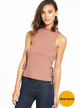 river-island-lace-up-tank-top-tan