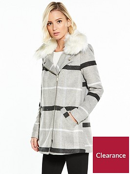 river-island-faux-fur-swing-check-coat