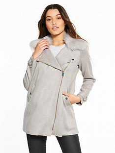 river-island-river-island-suedette-faux-fur-collar-swing-coat