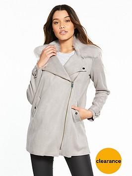 river-island-river-island-suedette-faux-fur-collar-swing-coat