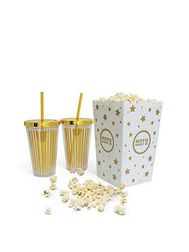 fizz-gold-cinema-cups-and-popcorn-holder-set