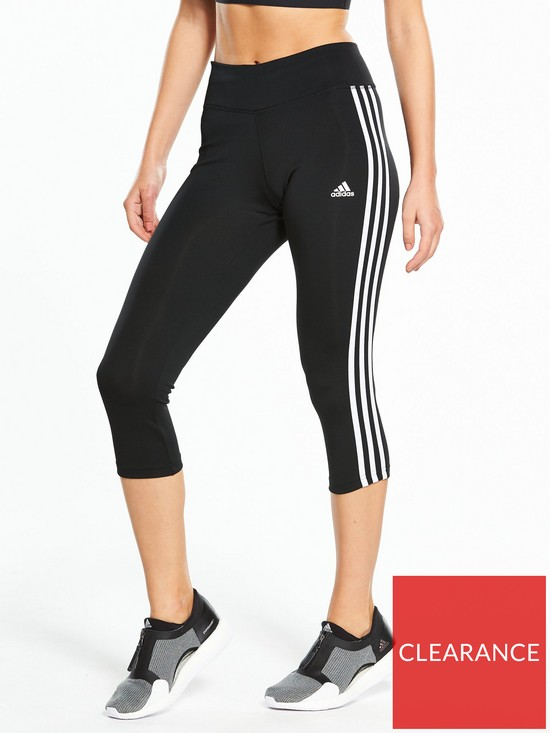 best service 2ab2b bd9ac adidas D2M 3 Stripe 3 4 Tights - Black