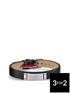 tommy-hilfiger-mensnbspblack-leather-bracelet