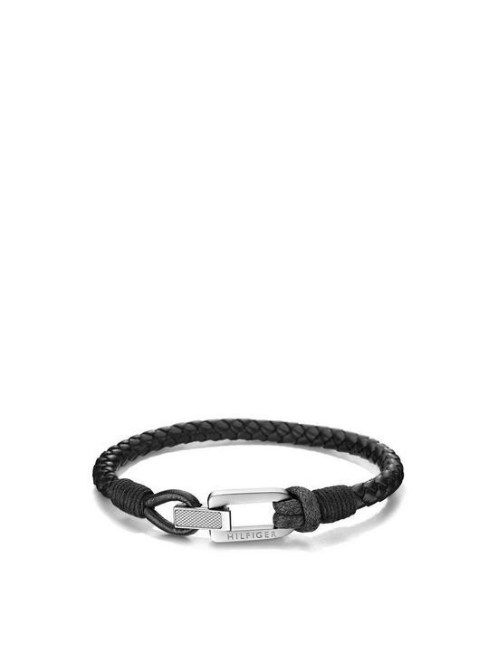 6bf911f2f0fe5 Mens Black Leather Bracelet
