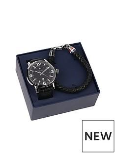 tommy-hilfiger-tommy-hilfiger-mens-black-leather-watch-and-black-leather-bracelet-gift-set