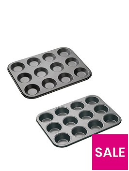 master-class-non-stick-twelve-hole-2-piece-baking-set
