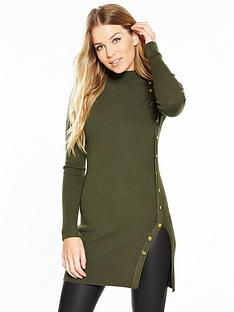 v-by-very-button-side-skinny-rib-tunic-khaki