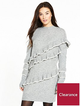 v-by-very-tiered-tipped-frill-turtleneck-knitted-dress