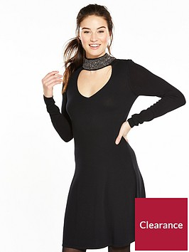 v-by-very-diamante-collar-knitted-swing-dress