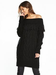 v-by-very-fringe-bardot-chunky-cable-knit-tunic