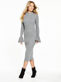 v-by-very-flared-cuff-rib-midi-knitted-dress