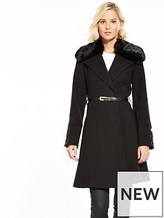 miss-selfridge-miss-selfridge-fur-trim-belted-coat