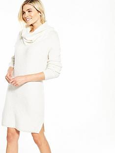 miss-selfridge-knitted-slouchy-cowl-neck-dress-cream
