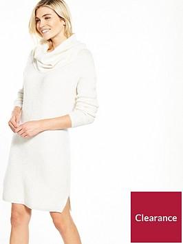 miss-selfridge-knitted-slouchy-cowl-neck-dress-cream