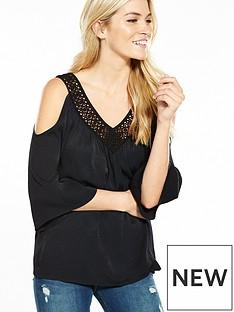 miss-selfridge-lace-insert-cold-shoulder-top-black