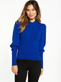 miss-selfridge-big-sleeve-fitted-top-blue