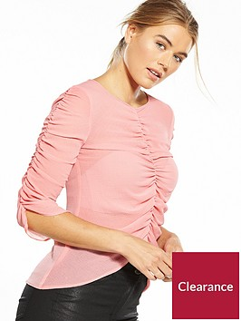 miss-selfridge-ruched-v-neck-top-pink