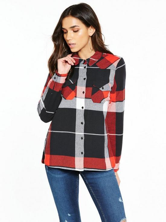 Noisy May Erik Long Sleeve Check Shirt - Red, Women