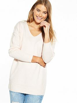 miss-selfridge-whipstitch-jumper-pink
