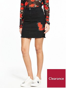 noisy-may-be-lexi-rose-embroidery-skirt-black