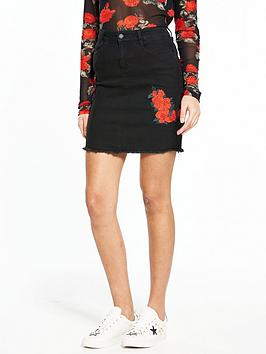 Noisy May Be Lexi Rose Embroidery Skirt - Black