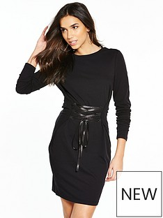 noisy-may-phillipa-long-sleeve-lace-up-dress-black