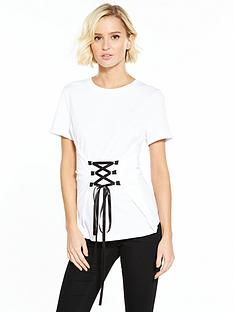 noisy-may-phillipa-short-sleeve-lace-up-top-white