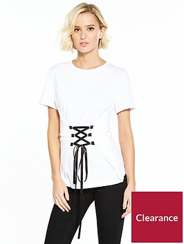 noisy-may-phillipa-short-sleeve-lace-up-top-white