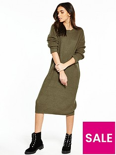 noisy-may-loone-long-sleeve-knit-dress-khaki