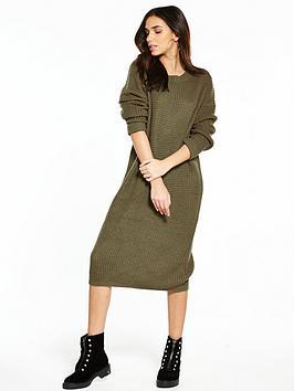 Noisy May Loone Long Sleeve Knit Dress - Khaki