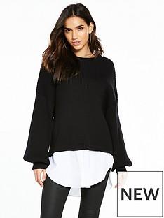 noisy-may-long-sleeve-mix-knit-black